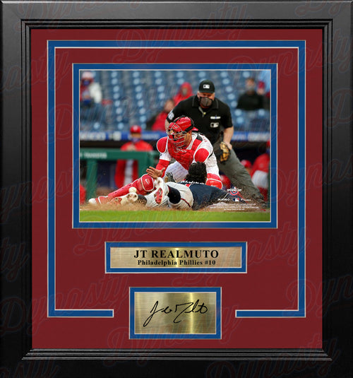 JT Realmuto Play at the Plate Philadelphia Phillies 8x10 Framed Photo with Engraved Autograph - Dynasty Sports & Framing