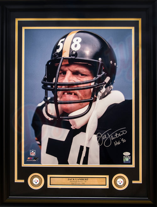 "Jack Lambert Pittsburgh Steelers Autographed 16"" x 20"" Framed Photo with Hall of Fame Inscription"