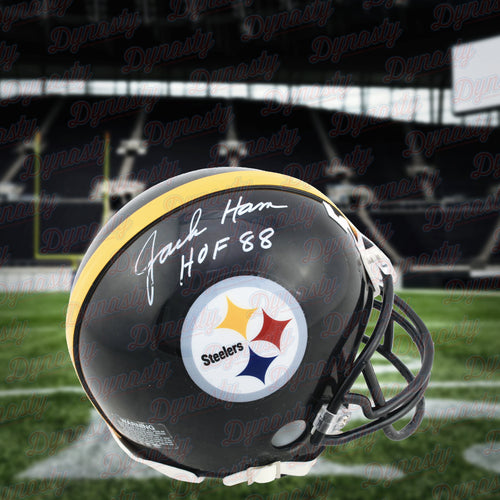 Jack Ham Pittsburgh Steelers Autographed NFL Football Mini-Helmet with Hall of Fame Inscription - Dynasty Sports & Framing