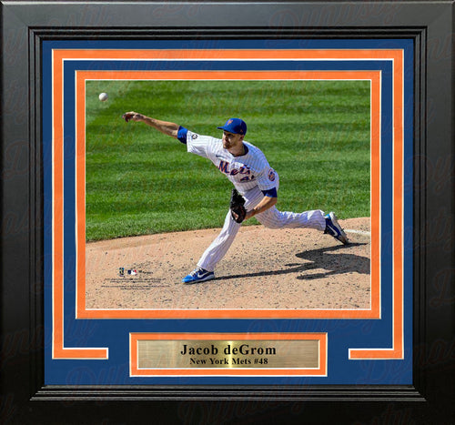 "Jacob deGrom in Action New York Mets 8"" x 10"" Framed Baseball Photo - Dynasty Sports & Framing"