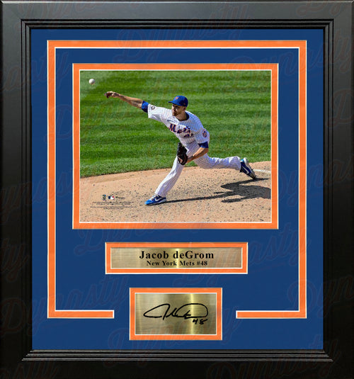 "Jacob deGrom in Action New York Mets 8"" x 10"" Framed Baseball Photo with Engraved Autograph - Dynasty Sports & Framing"