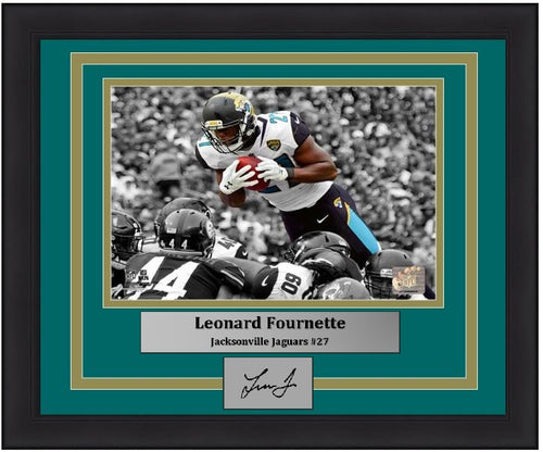 Jacksonville Jaguars Leonard Fournette Spotlight Engraved Autograph NFL Football Framed & Matted Photo (Dynasty Signature Collection)