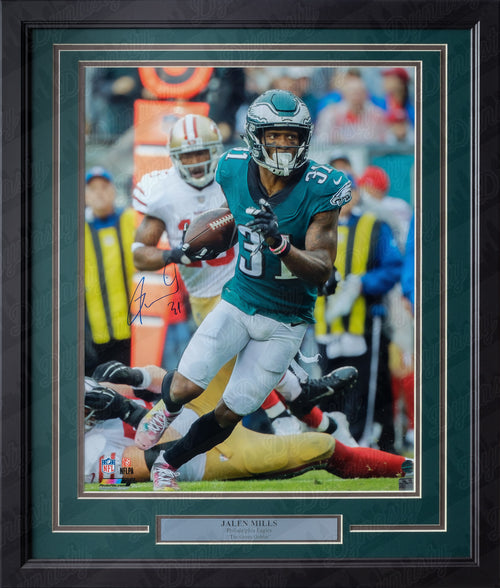 Philadelphia Eagles Jalen Mills Autographed NFL Football Framed and Matted Photo