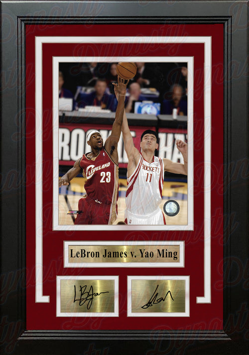 "LeBron James v. Yao Ming 8"" x 10"" Framed Basketball Photo with Engraved Autographs - Dynasty Sports & Framing"