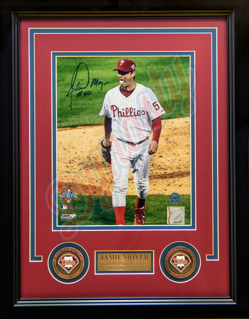 "Jamie Moyer Philadelphia Phillies 2008 World Series Tongue Wag Autographed MLB Baseball 8"" x 10"" Framed and Matted Photo"