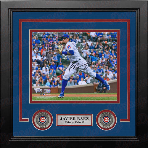 Javier Baez Fielding Chicago Cubs Autographed 8x10 Framed Photo - Dynasty Sports & Framing