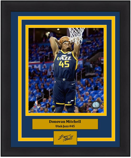 "Donovan Mitchell Slam Dunk Utah Jazz  8"" x 10"" Framed Basketball Photo with Engraved Autograph - Dynasty Sports & Framing"