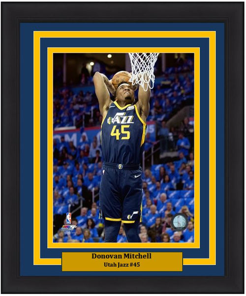 "Donovan Mitchell Slam Dunk Utah Jazz  8"" x 10"" Framed Basketball Photo - Dynasty Sports & Framing"