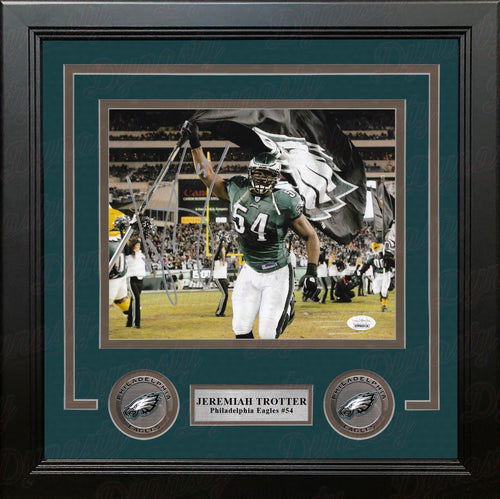 Jeremiah Trotter Carrying the Flag Philadelphia Eagles Autographed Framed Football Photo - Dynasty Sports & Framing