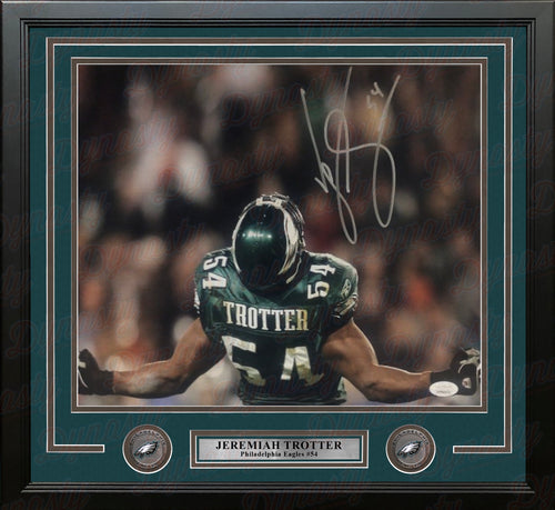 "Jeremiah Trotter Flex Philadelphia Eagles Autographed 11"" x 14"" Framed Football Photo - Dynasty Sports & Framing"