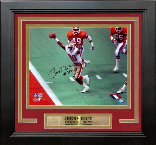 Jerry Rice San Francisco 49ers Super Bowl XXIV Autographed NFL Football Framed and Matted Photo - Dynasty Sports & Framing