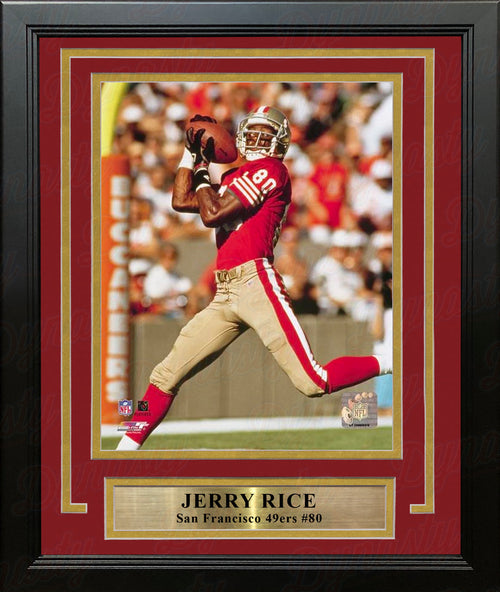 "Jerry Rice Action San Francisco 49ers 8"" x 10"" Framed and Matted Photo - Dynasty Sports & Framing"