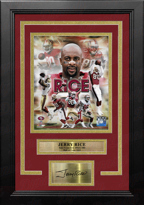 "Jerry Rice Action San Francisco 49ers 8"" x 10"" Framed and Matted Photo with Engraved Autograph - Dynasty Sports & Framing"