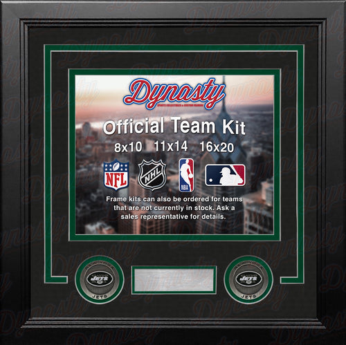 NFL Football Photo Picture Frame Kit - New York Jets (Black Matting, Green Trim) - Dynasty Sports & Framing