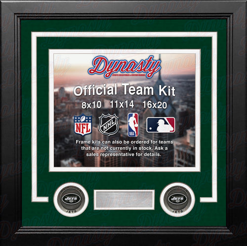 NFL Football Photo Picture Frame Kit - New York Jets (Green Matting, White Trim) - Dynasty Sports & Framing