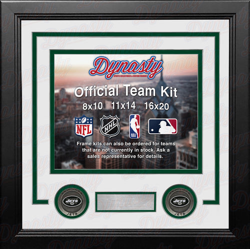 NFL Football Photo Picture Frame Kit - New York Jets (White Matting, Green Trim) - Dynasty Sports & Framing