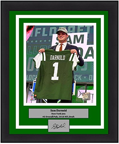 "New York Jets Sam Darnold 2018 Draft Engraved Autograph NFL Football 8"" x 10"" Framed and Matted Photo (Dynasty Signature Collection)"