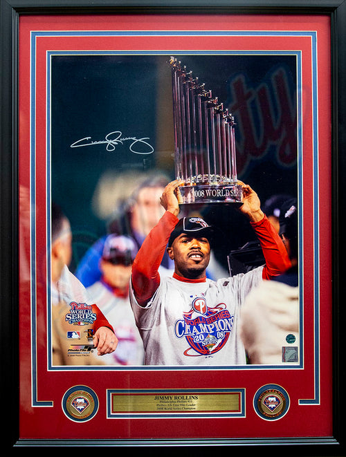 "Jimmy Rollins Autographed 2008 World Series Trophy MLB Baseball 16"" x 20"" Framed & Matted Photo - Dynasty Sports & Framing"