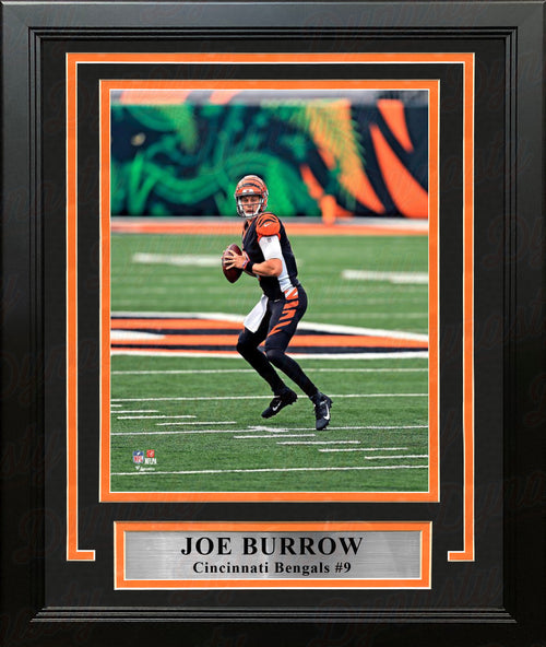 "Joe Burrow in Action Cincinnati Bengals 8"" x 10"" Framed Football Photo - Dynasty Sports & Framing"