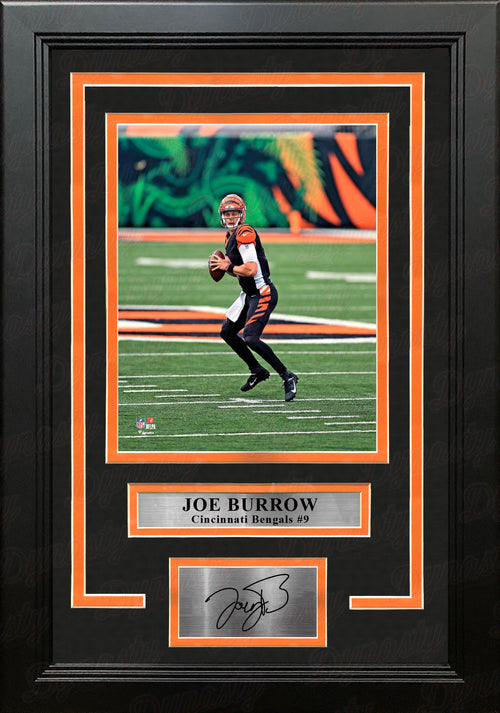"Joe Burrow in Action Cincinnati Bengals 8"" x 10"" Framed Football Photo with Engraved Autograph - Dynasty Sports & Framing"