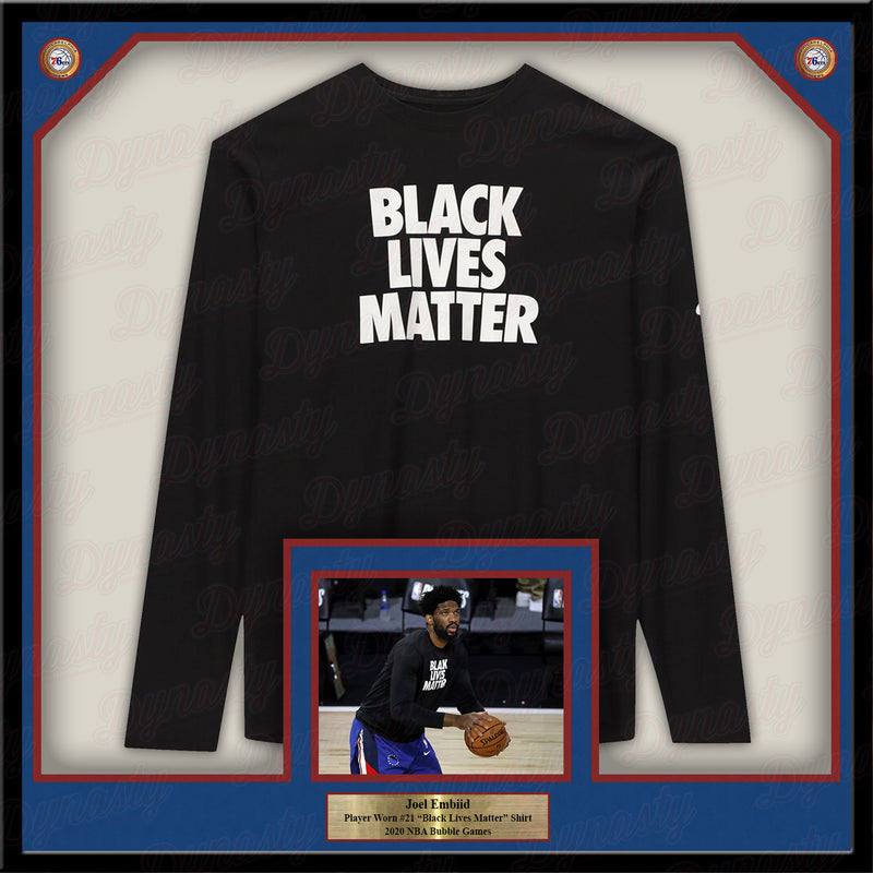 Joel Embiid Philadelphia 76ers Framed Game-Worn Black Lives Matter Shirt - Dynasty Sports & Framing