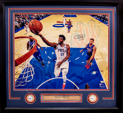 "Joel Embiid Driving to the Rim Philadelphia 76ers Autographed NBA Basketball 16"" x 20"" Framed and Matted Photo"