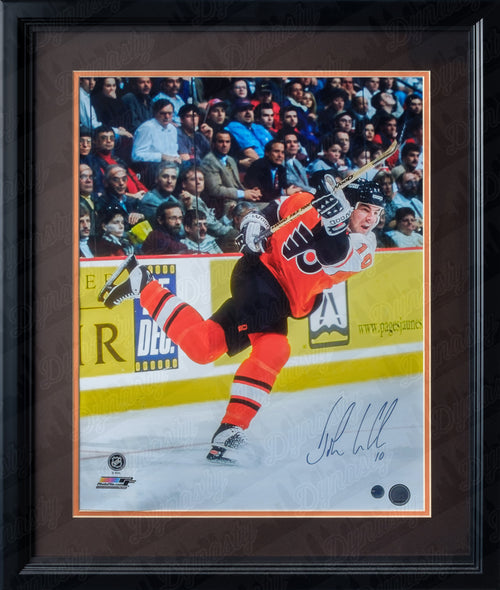 "Philadelphia Flyers John LeClair Slapshot Autographed NHL Hockey 16"" x 20"" Framed & Matted Photo - Dynasty Sports & Framing"