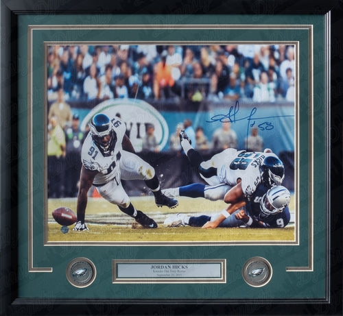 Philadelphia Eagles Jordan Hicks Crushes Tony Romo Autographed NFL Football Framed and Matted Photo