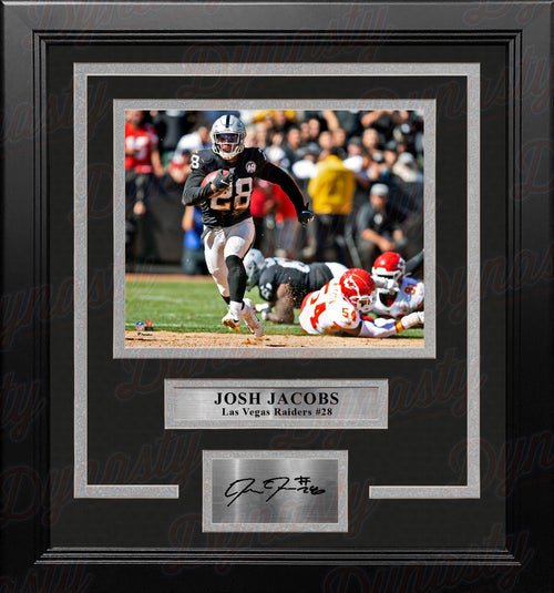 "Josh Jacobs v. Chiefs Las Vegas Raiders 8"" x 10"" Framed Football Photo with Engraved Autograph - Dynasty Sports & Framing"