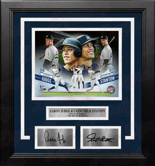 Aaron Judge & Giancarlo Stanton New York Yankees Collage 8x10 Framed Photo with Engraved Autographs - Dynasty Sports & Framing