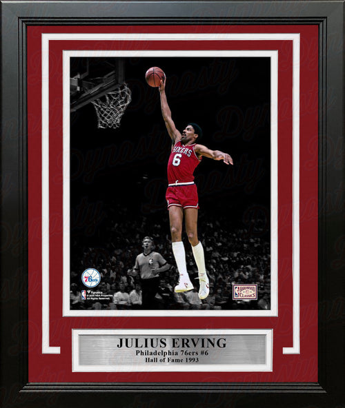 "Julius ""Dr. J"" Erving Blackout Dunk Philadelphia 76ers 8"" x 10"" Framed Basketball Photo - Dynasty Sports & Framing"