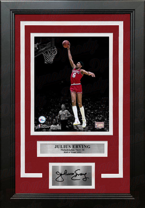"Julius ""Dr. J"" Erving Blackout Dunk Philadelphia 76ers 8"" x 10"" Framed Photo with Engraved Autograph - Dynasty Sports & Framing"