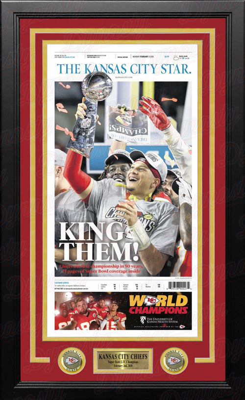 Kansas City Chiefs Super Bowl LIV Championship Framed Kansas City Star Newspaper - Dynasty Sports & Framing