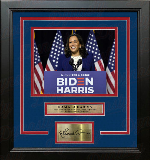 "Kamala Harris First Woman of Color As Vice President 8"" x 10"" Framed Photo with Engraved Autograph - Dynasty Sports & Framing"