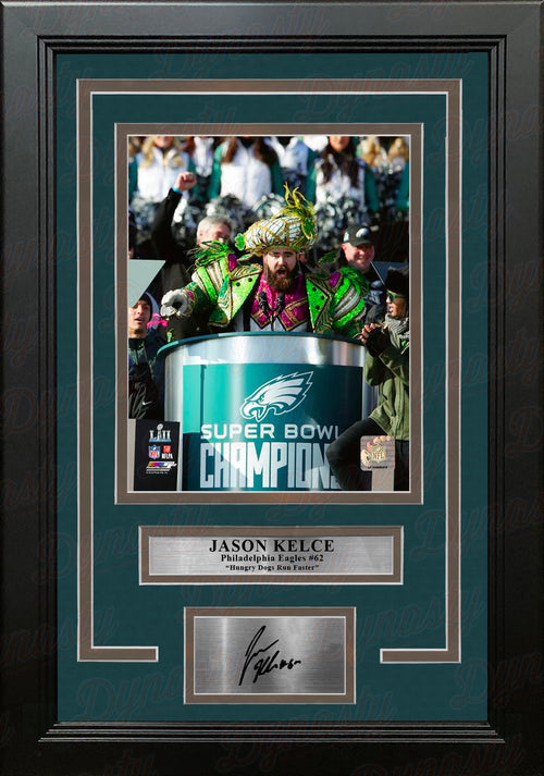 Jason Kelce Philadelphia Eagles Super Bowl Parade Speech 8x10 Framed Photo with Engraved Autograph - Dynasty Sports & Framing