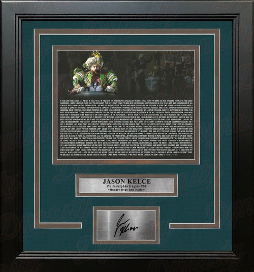 Jason Kelce Super Bowl Speech Text Philadelphia Eagles Framed Football Photo with Engraved Autograph - Dynasty Sports & Framing