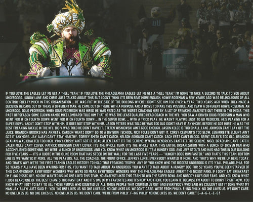 Jason Kelce Parade Speech Text Philadelphia Eagles NFL Football Photo