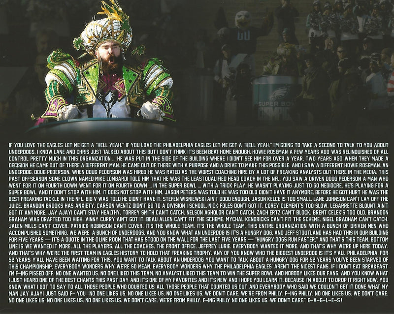 Jason Kelce Super Bowl LII Parade Speech Text Philadelphia Eagles NFL Football Photo - Dynasty Sports & Framing