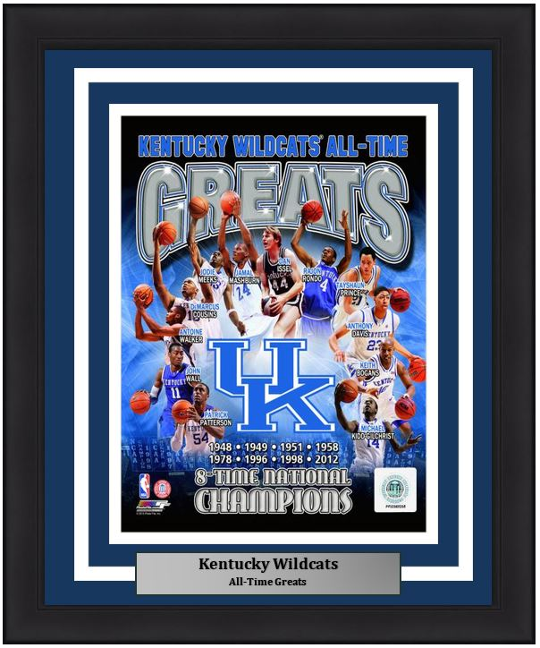 "Kentucky Wildcats All-Time Greats NCAA College Basketball 8"" x 10"" Framed and Matted Photo"