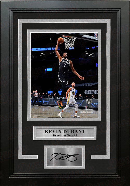 "Kevin Durant in Action Brooklyn Nets 8"" x 10"" Framed Basketball Photo with Engraved Autograph - Dynasty Sports & Framing"