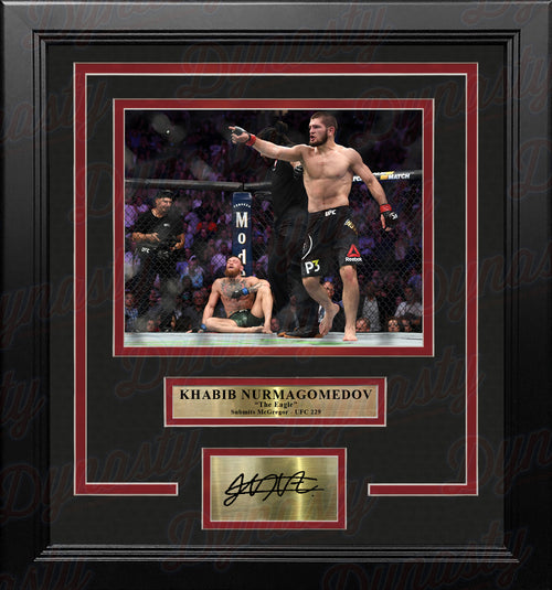Khabib Nurmagomedov Crushes McGregor 8x10 Framed Mixed Martial Arts Photo with Engraved Autograph - Dynasty Sports & Framing
