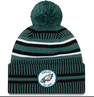 Philadelphia Eagles New Era Green/Black NFL Sideline Home Official Sport Knit Hat - Dynasty Sports & Framing