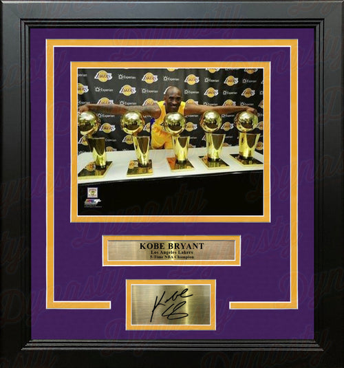 Kobe Bryant 5 Championship Trophies Los Angeles Lakers 8x10 Framed Photo with Engraved Autograph - Dynasty Sports & Framing