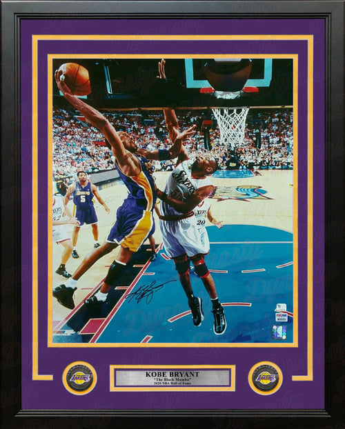 Kobe Bryant 2001 NBA Finals Autographed Los Angeles Lakers 16x20 Framed Basketball Photo - Dynasty Sports & Framing