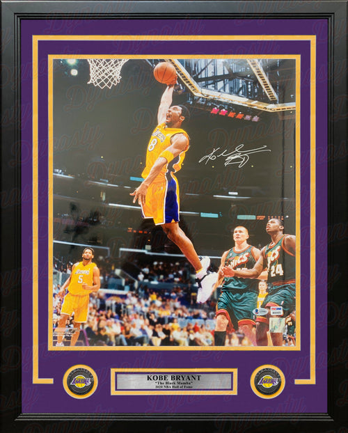 "Kobe Bryant in Action v. Seattle Autographed Los Angeles Lakers 16"" x 20"" Framed Basketball Photo - Dynasty Sports & Framing"