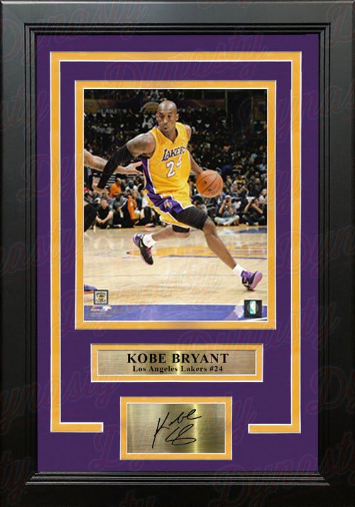 "Kobe Bryant in Action Los Angeles Lakers 8"" x 10"" Framed Basketball Photo with Engraved Autograph - Dynasty Sports & Framing"
