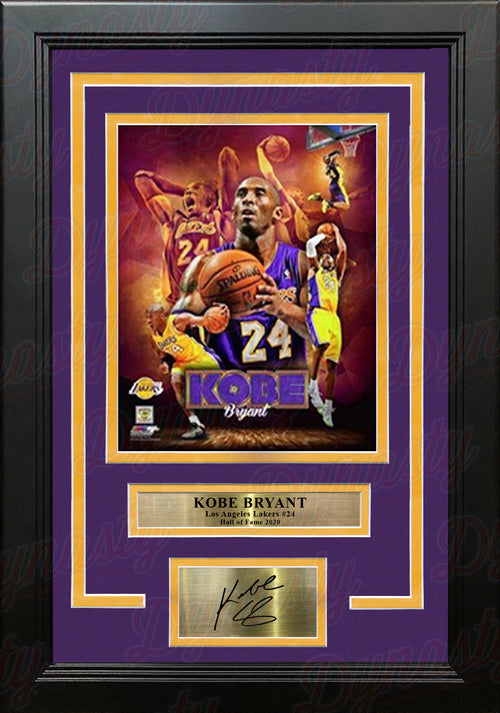 "Kobe Bryant Los Angeles Lakers #24 Collage 8"" x 10"" Framed Basketball Photo with Engraved Autograph - Dynasty Sports & Framing"