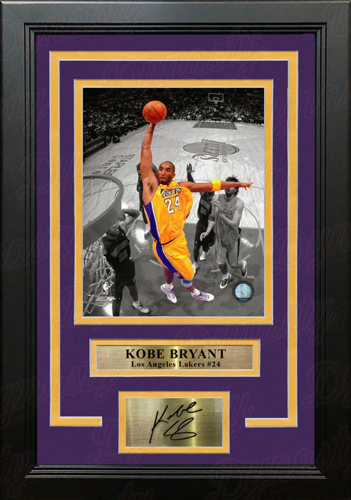 Kobe Bryant Los Angeles Lakers Spotlight Slam Dunk 8x10 Framed Photo with Engraved Autograph - Dynasty Sports & Framing