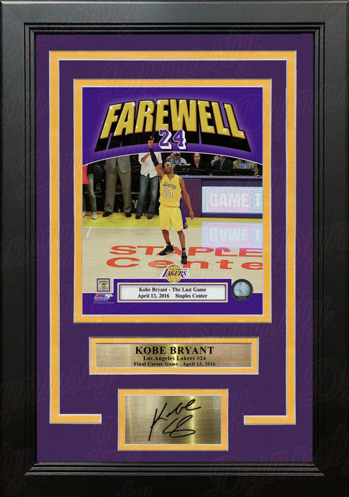Kobe Bryant Final NBA Game Los Angeles Lakers 8x10 Framed Basketball Photo with Engraved Autograph - Dynasty Sports & Framing