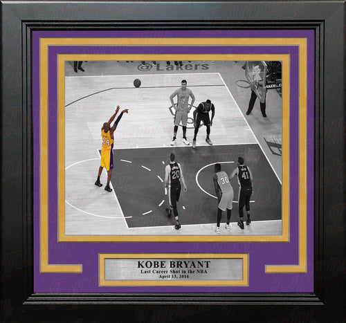 Kobe Bryant's Last Career Shot Los Angeles Lakers Framed Basketball Photo - Dynasty Sports & Framing